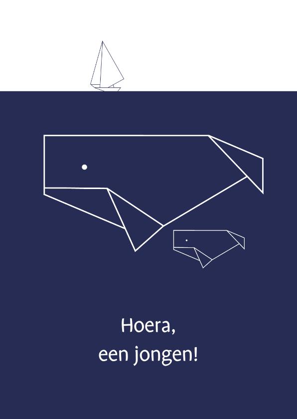 Felicitatiekaarten - Felicitatie - Geometrische walvis met baby walvisje