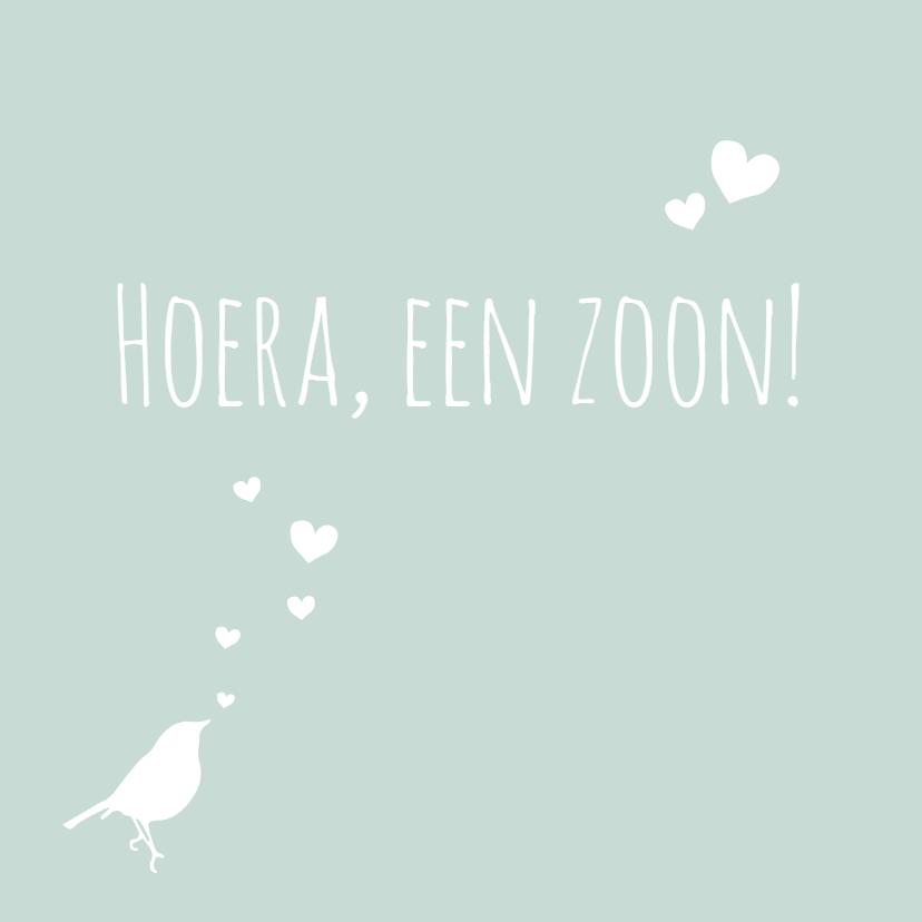 Felicitatiekaarten - Felicitatie, groen, vogel, hart