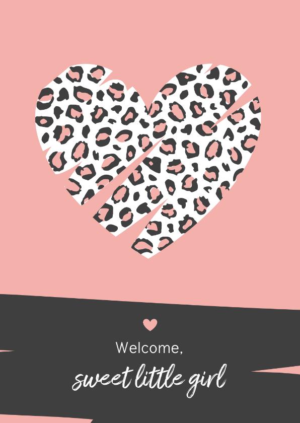 Felicitatiekaarten - Felicitatie - Groot hart met luipaard print