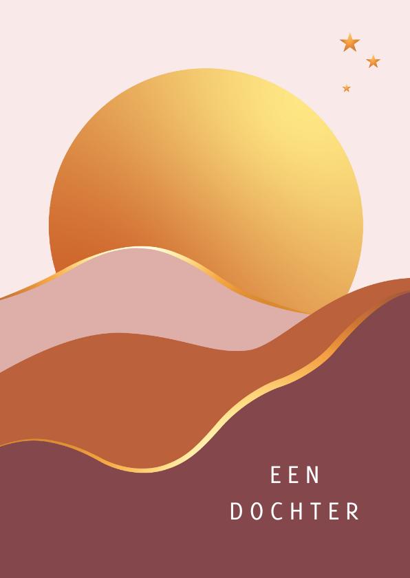 Felicitatiekaarten - Felicitatie - Grote zon met vlakken