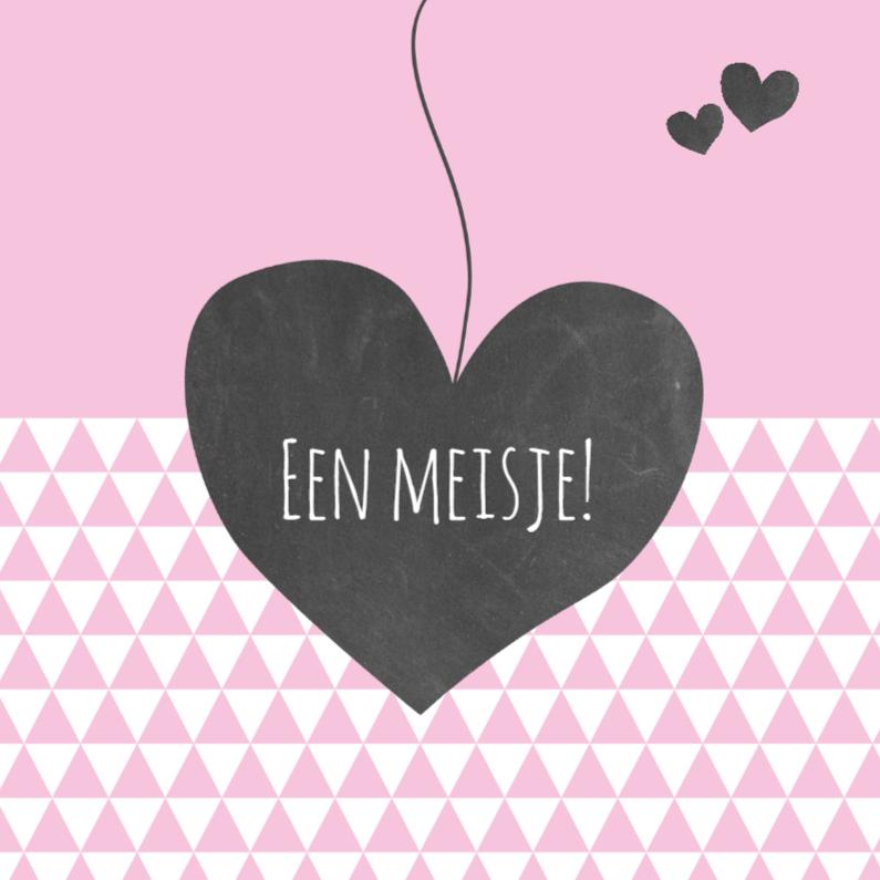 Felicitatiekaarten - Felicitatie hart driehoek roze