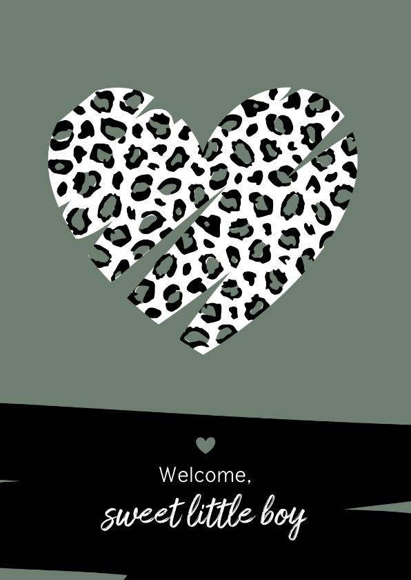 Felicitatiekaarten - Felicitatie - Hart met luipaard print
