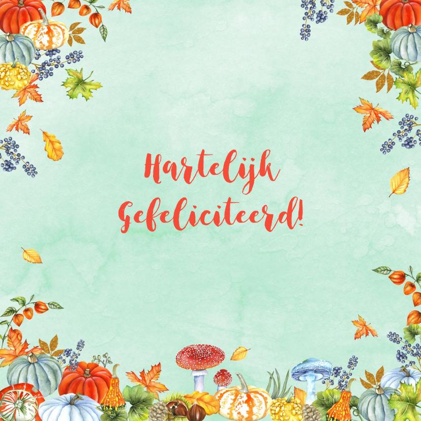 Felicitatiekaarten - Felicitatie herfsttafereel kalebas