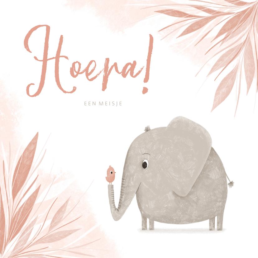 Felicitatiekaarten - Felicitatie hoera een meisje olifantje met vogel jungle