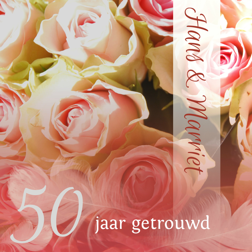 Felicitatiekaarten - Felicitatie Hout rozen en veer jubileum