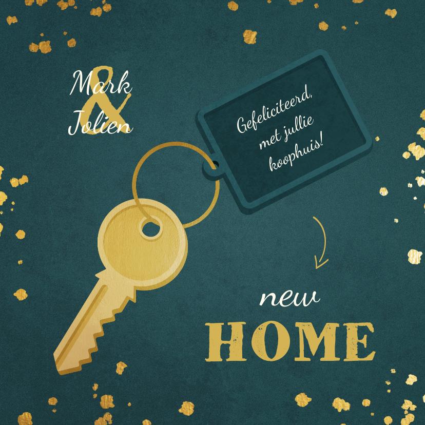 Felicitatiekaarten - Felicitatie huis gekocht met sleutel en label