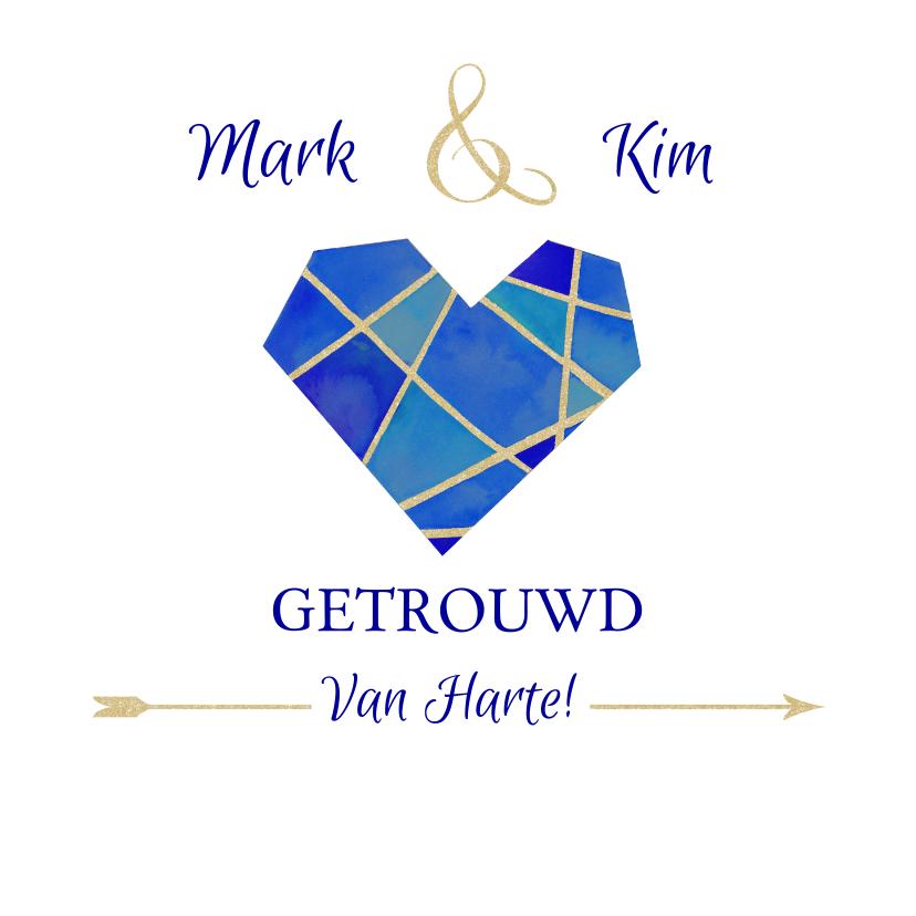 Felicitatiekaarten - Felicitatie huwelijk blauw hart