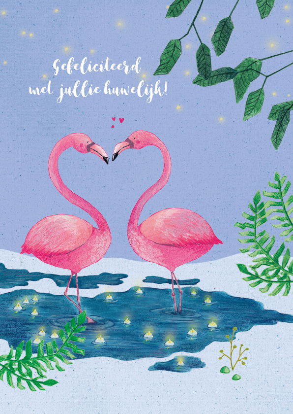 Felicitatiekaarten - Felicitatie huwelijk, flamingo's