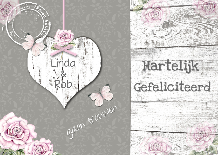 Felicitatiekaarten - felicitatie  huwelijk hart en vlinders