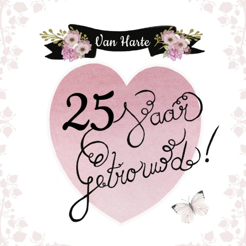 Felicitatiekaarten - felicitatie huwelijk hart tekst