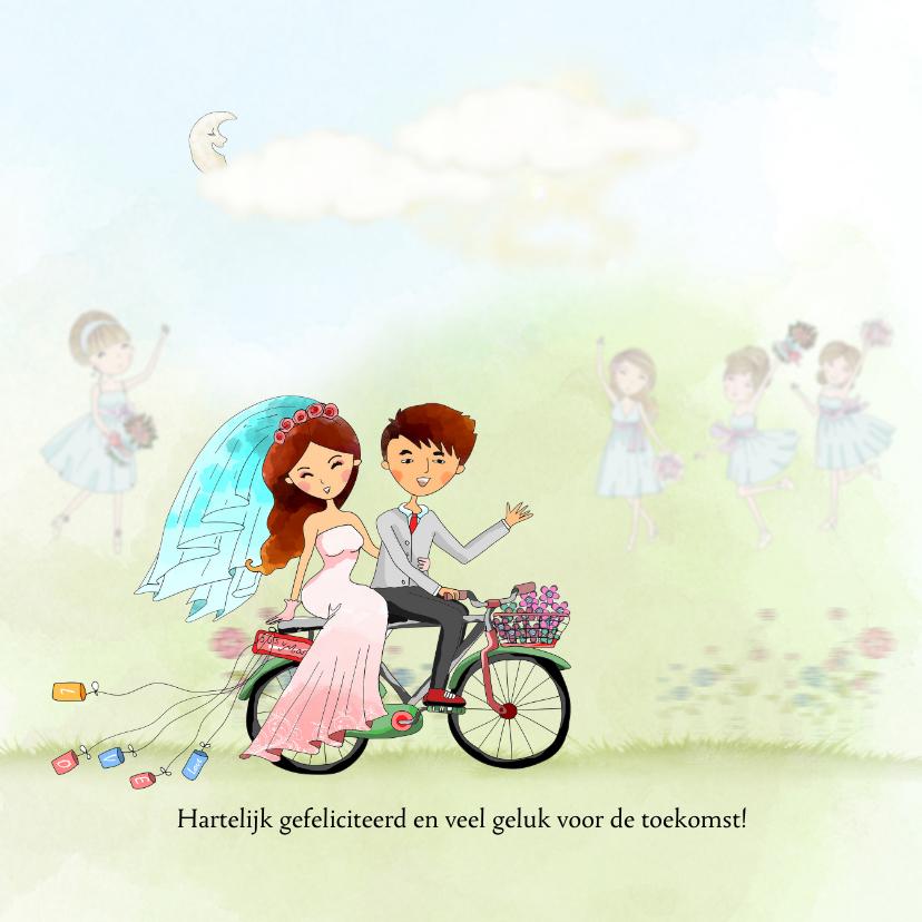 Felicitatiekaarten - Felicitatie huwelijk met fiets