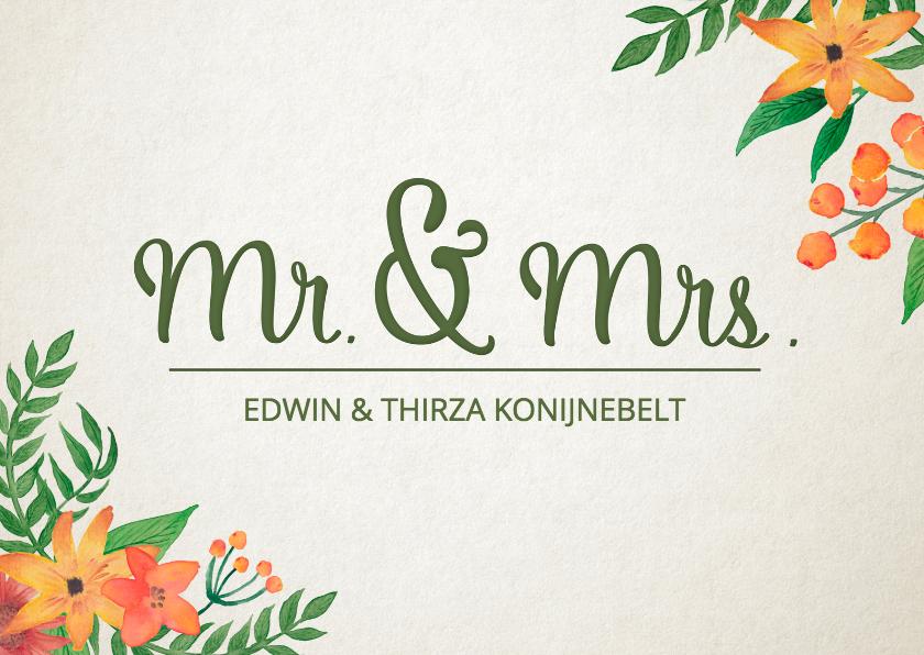 Felicitatiekaarten - Felicitatie huwelijk Mr & Mrs