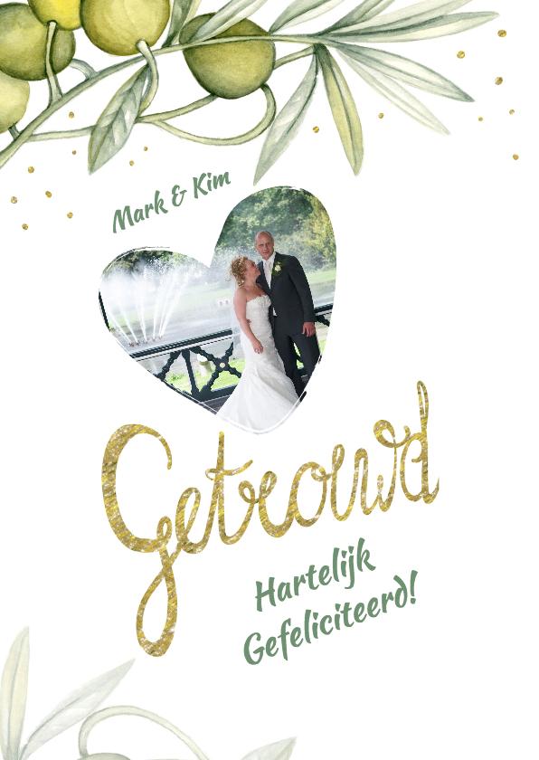 Felicitatiekaarten - Felicitatie huwelijk olijftak
