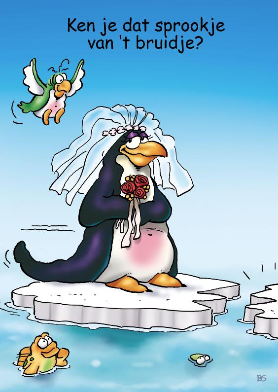 Felicitatiekaarten - Felicitatie huwelijk pinguins 1 bruid