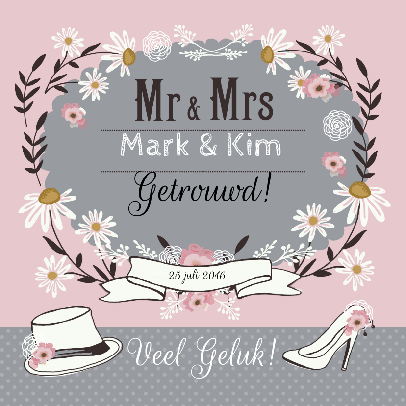 Felicitatiekaarten - Felicitatie huwelijk retro