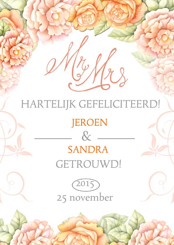 Felicitatiekaarten - felicitatie huwelijk rozen
