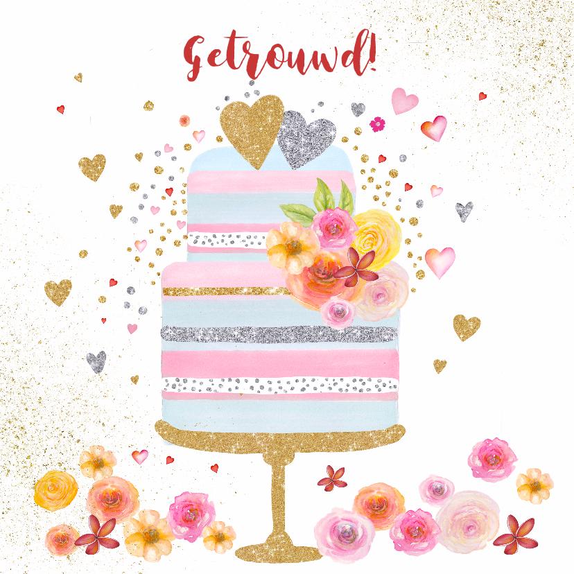 Felicitatiekaarten - Felicitatie huwelijk taart pastel