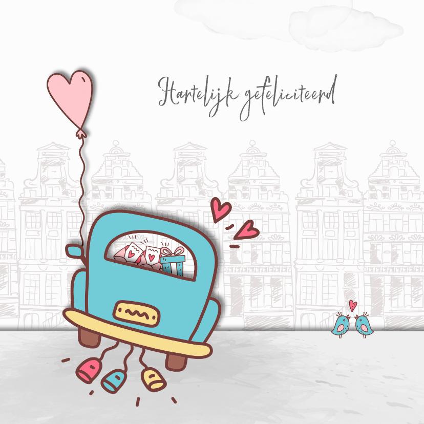 Felicitatiekaarten - Felicitatie huwelijk trouwauto-blikken