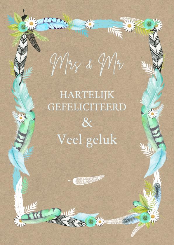 Felicitatiekaarten - Felicitatie huwelijk veren