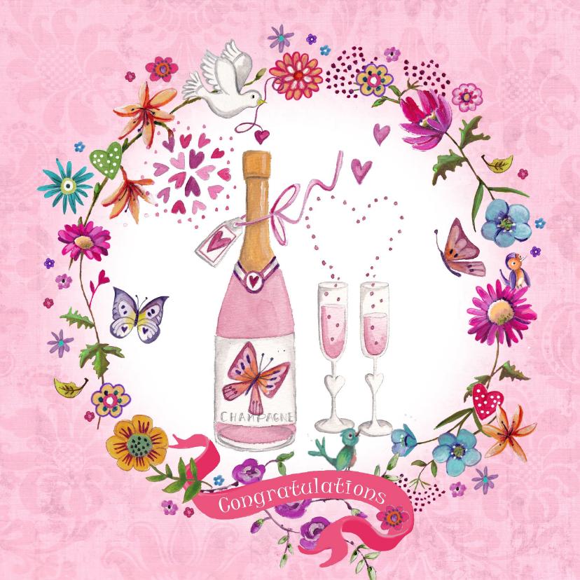 Felicitatiekaarten - Felicitatie Huwelijksjubileum Champagne
