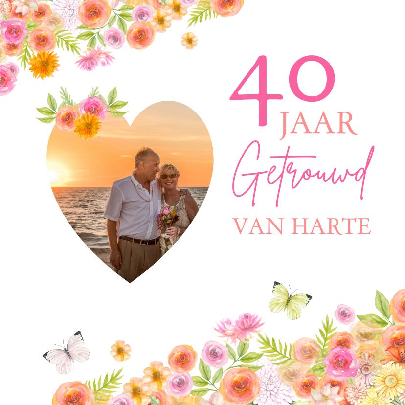 Felicitatiekaarten - Felicitatie huwelijksjubileum rozen aquarel
