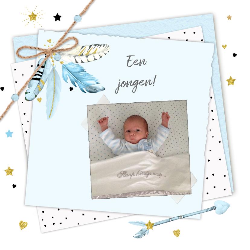Felicitatiekaarten - Felicitatie jongen veertjes papier