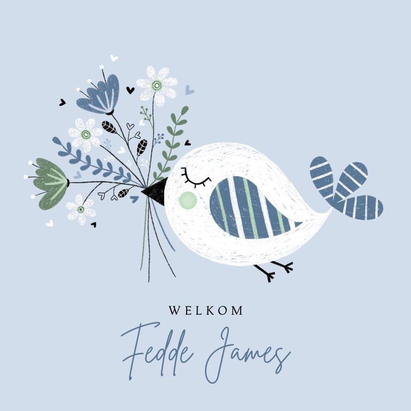 Felicitatiekaarten -  Felicitatie jongen vogel bloemen blauw