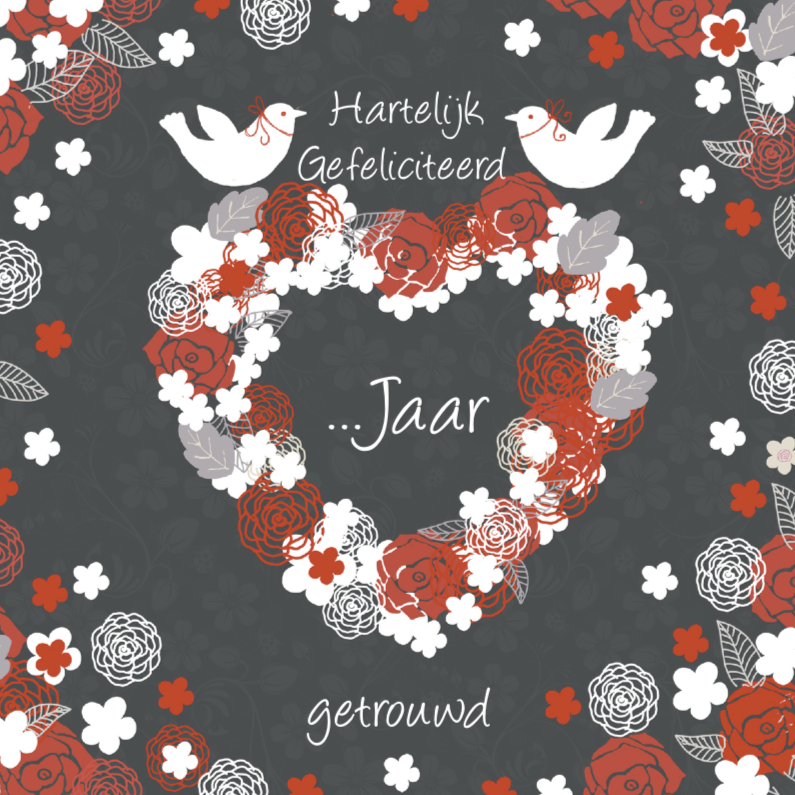 Felicitatiekaarten - felicitatie jubileum hart en duifjes