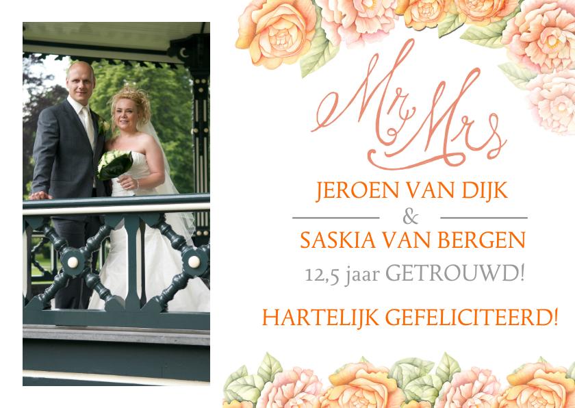 Felicitatiekaarten - Felicitatie jubileum oranje roos