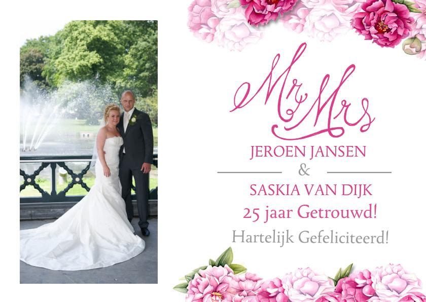 Felicitatiekaarten - Felicitatie jubileum pioenrozen