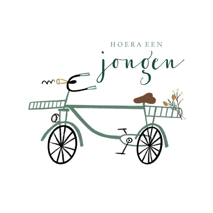 Felicitatiekaarten - Felicitatie kaart jongen hip groen fietsje