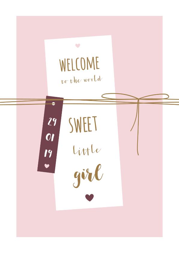 Felicitatiekaarten - Felicitatie kaart label met lijnen en hartjes
