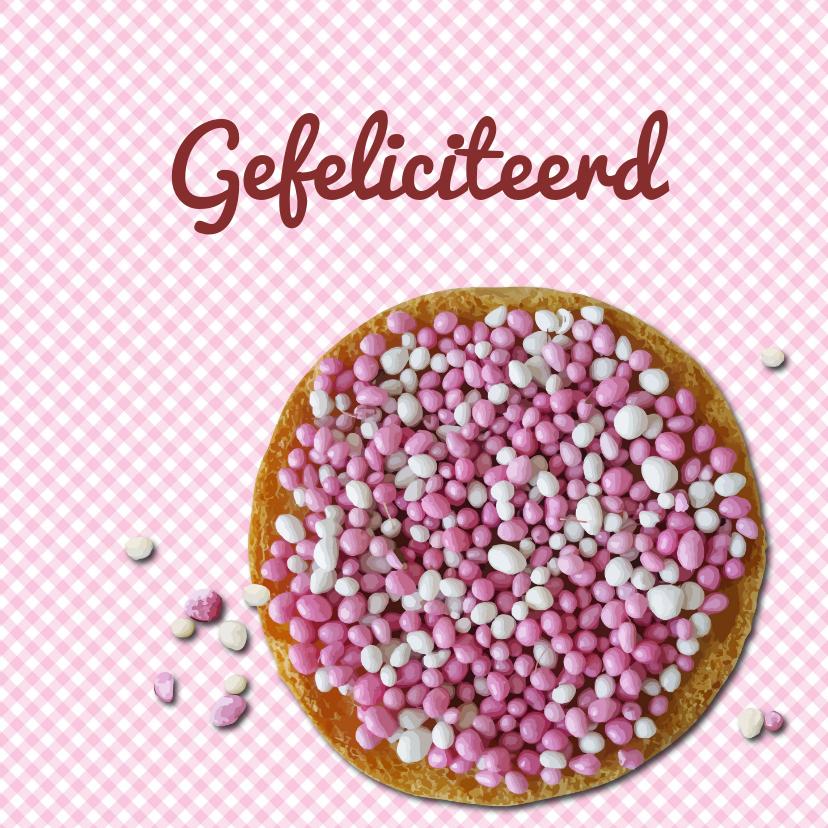 Felicitatiekaarten - Felicitatie kaart roze muisjes