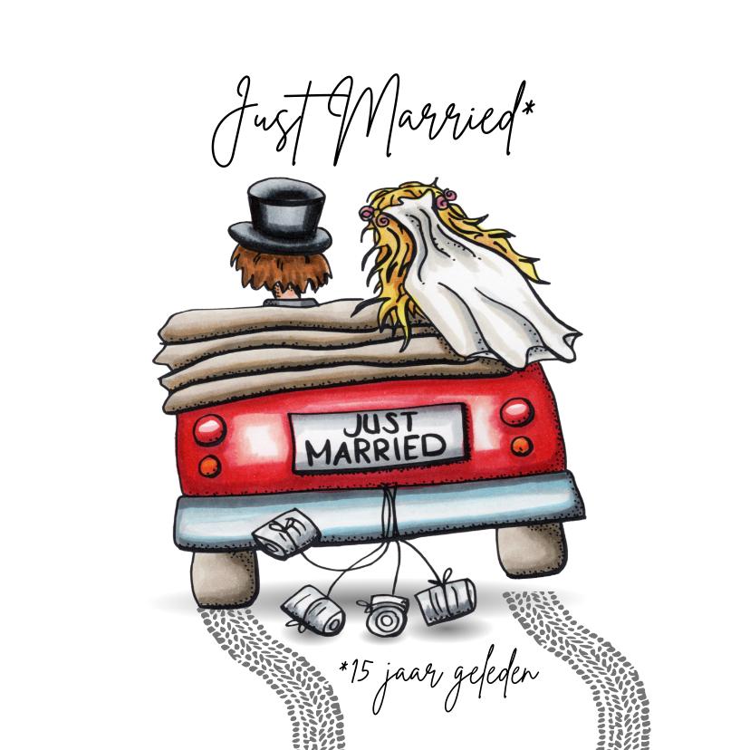 Felicitatiekaarten - Felicitatie kaarten Just Married in auto