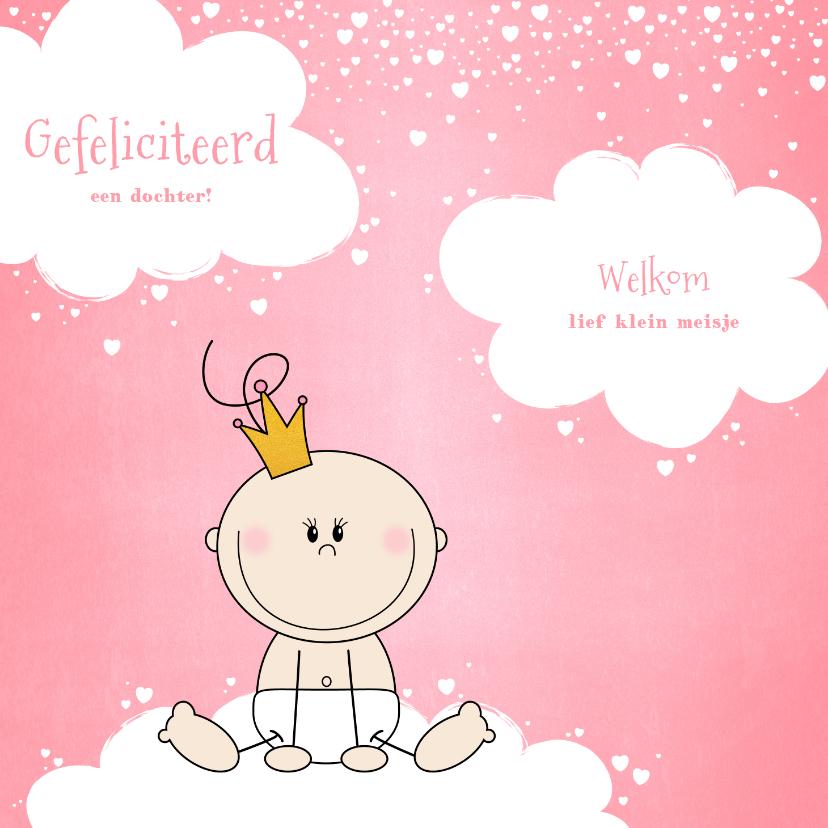 Felicitatiekaarten - Felicitatie kaartje lief prinsesje wolken en hartjes