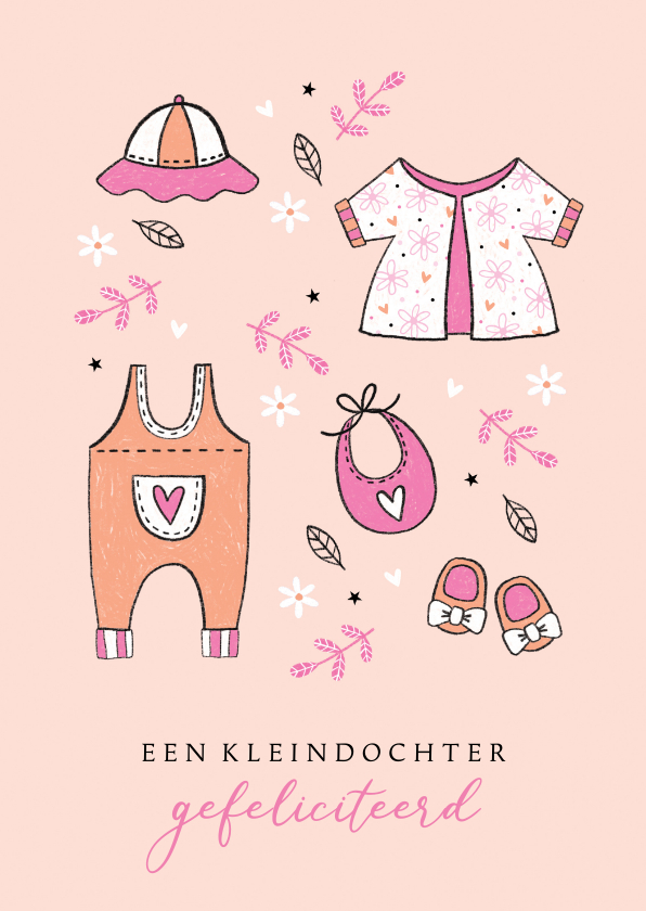 Felicitatiekaarten - Felicitatie kleindochter babykleertjes 2