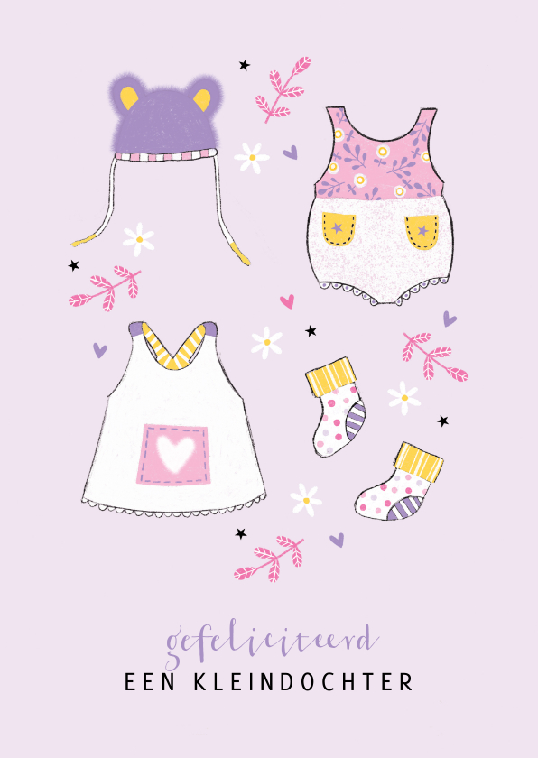 Felicitatiekaarten - Felicitatie kleindochter babykleertjes