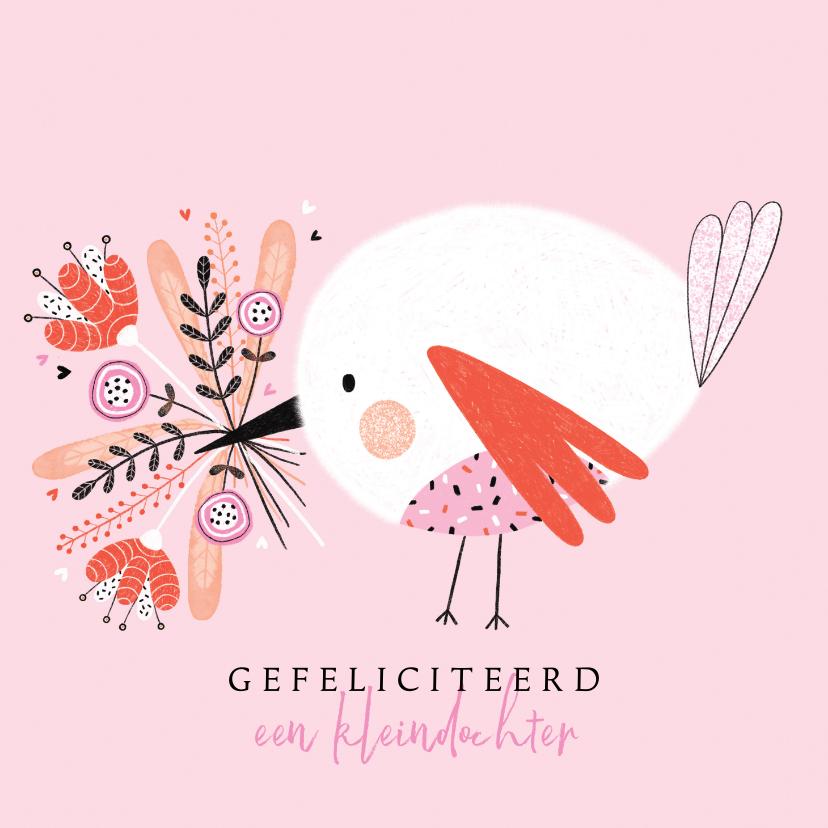 Felicitatiekaarten - Felicitatie kleindochter vogel bloemen