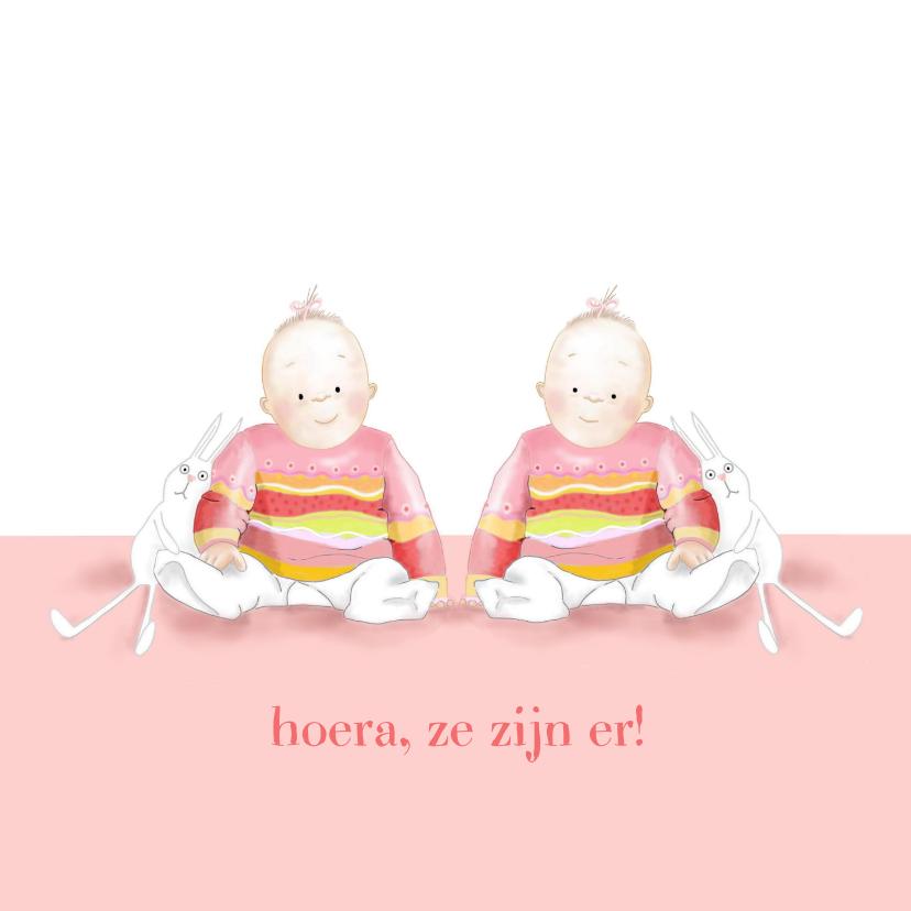 Felicitatiekaarten - Felicitatie - kleine meisjes met konijntje