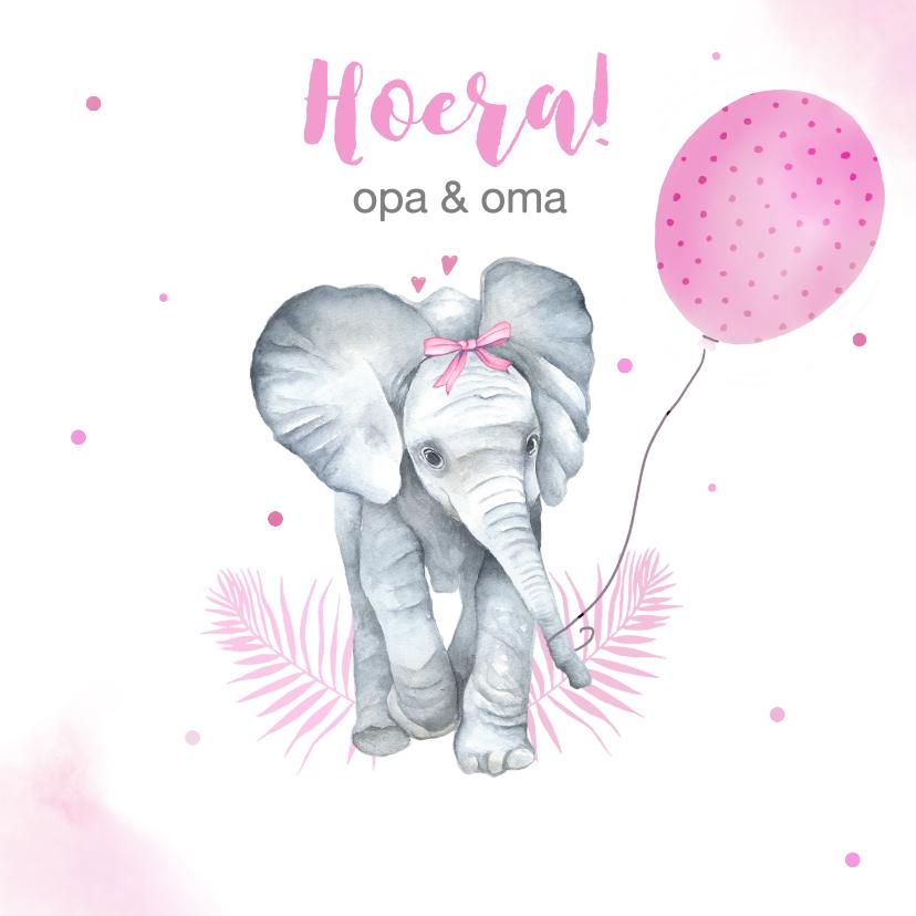 Felicitatiekaarten - Felicitatie kleinkind olifant ballon