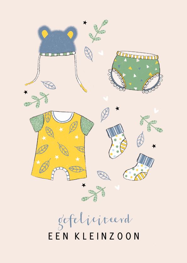 Felicitatiekaarten - Felicitatie kleinzoon babykleertjes