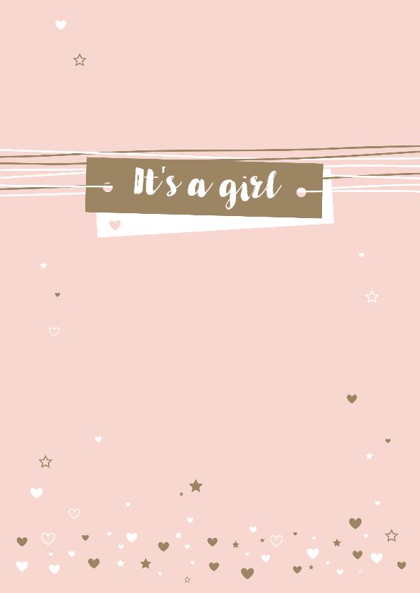 Felicitatiekaarten - Felicitatie - Lijnen, harten, label, girl