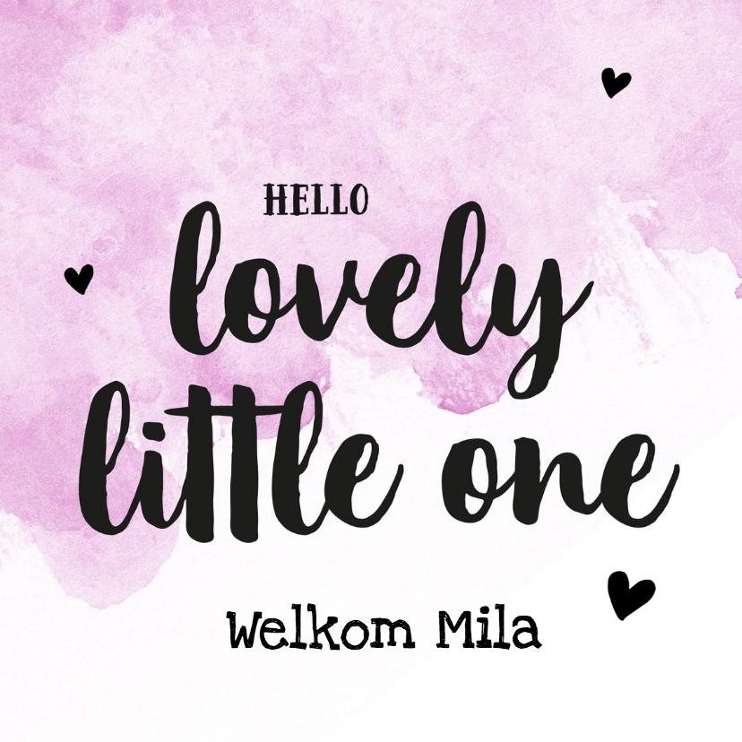 Felicitatiekaarten - Felicitatie - lovely little one met naam roze