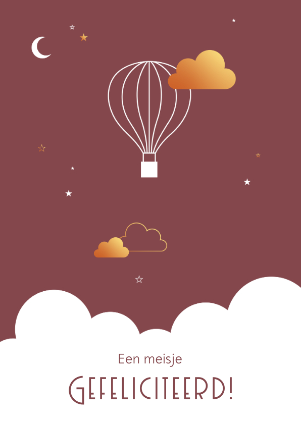 Felicitatiekaarten - Felicitatie - Luchtballon met wolkje in goudlook