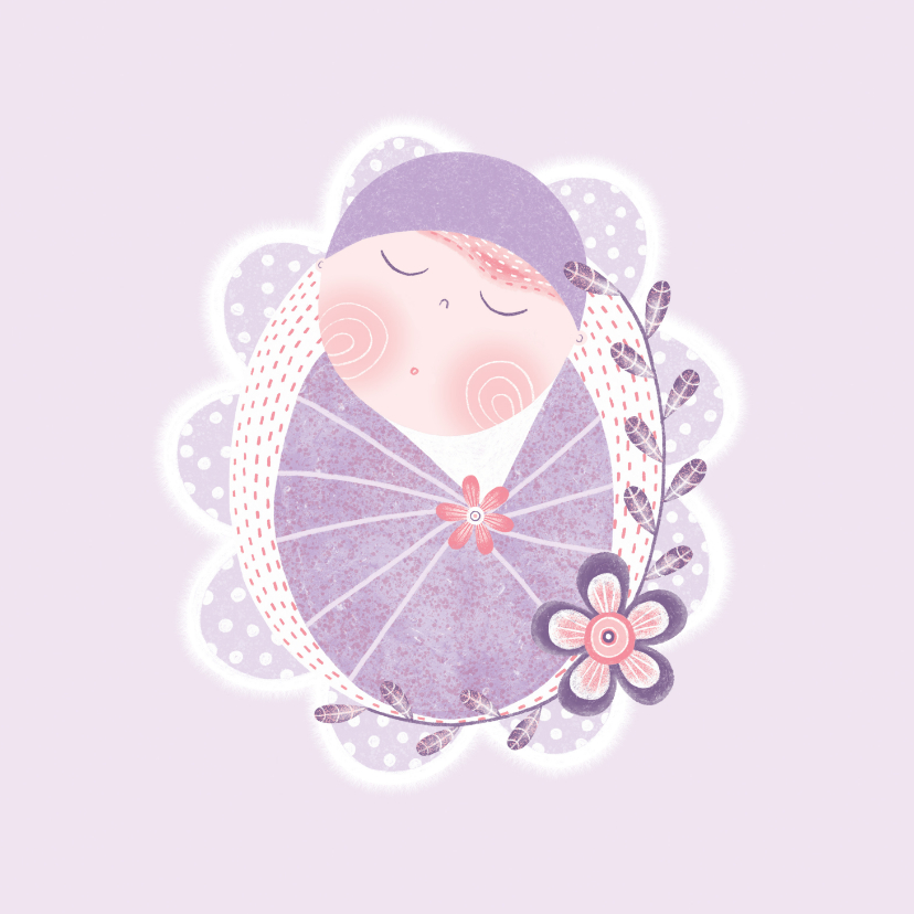 Felicitatiekaarten - Felicitatie meisje baby paars