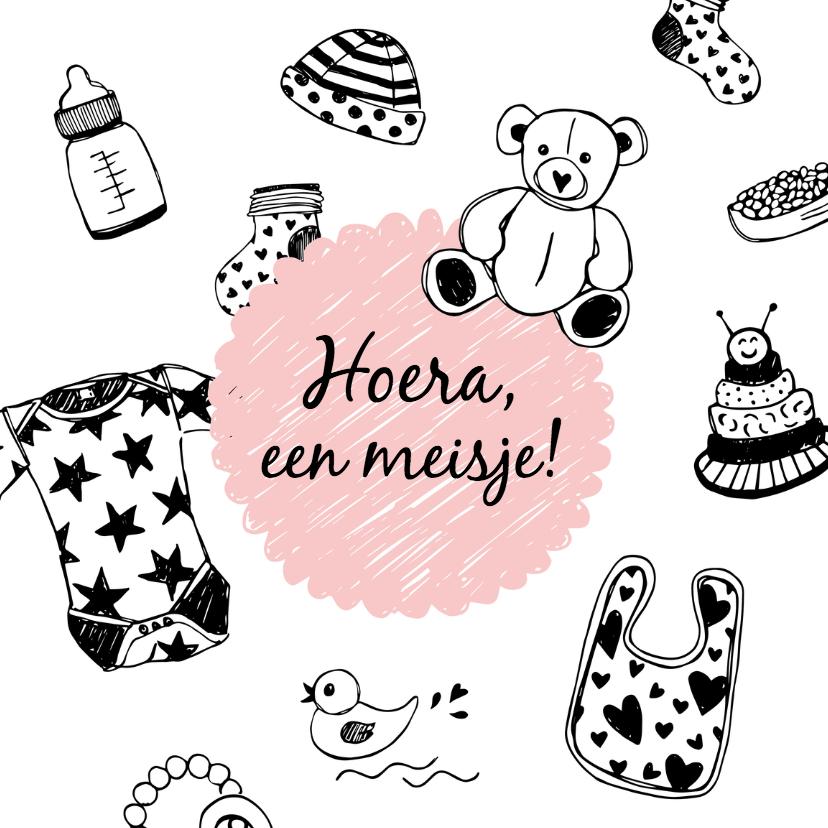 Felicitatiekaarten - Felicitatie meisje tekeningen