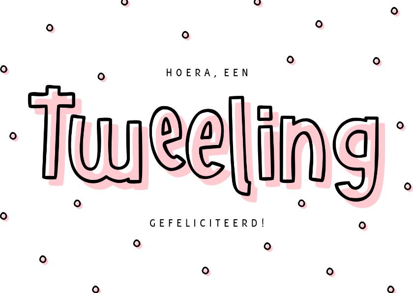Felicitatiekaarten - Felicitatie meisjestweeling hip met confetti