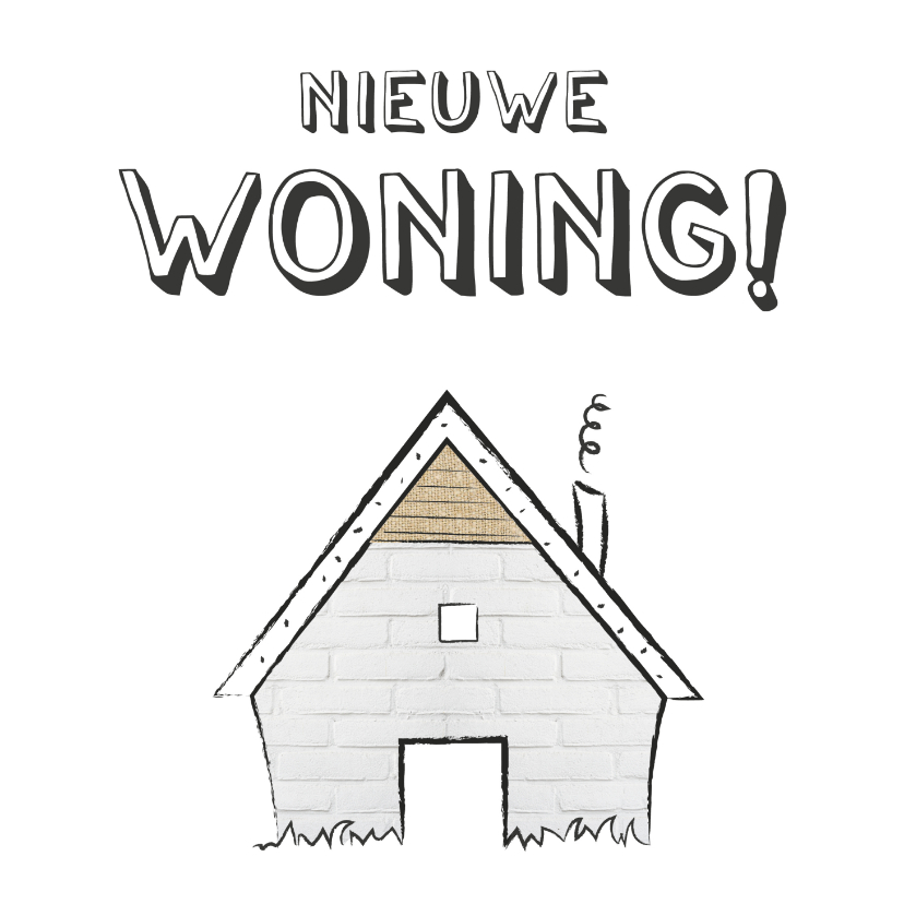 Felicitatiekaarten - Felicitatie met illustratie van een klein schattig huisje