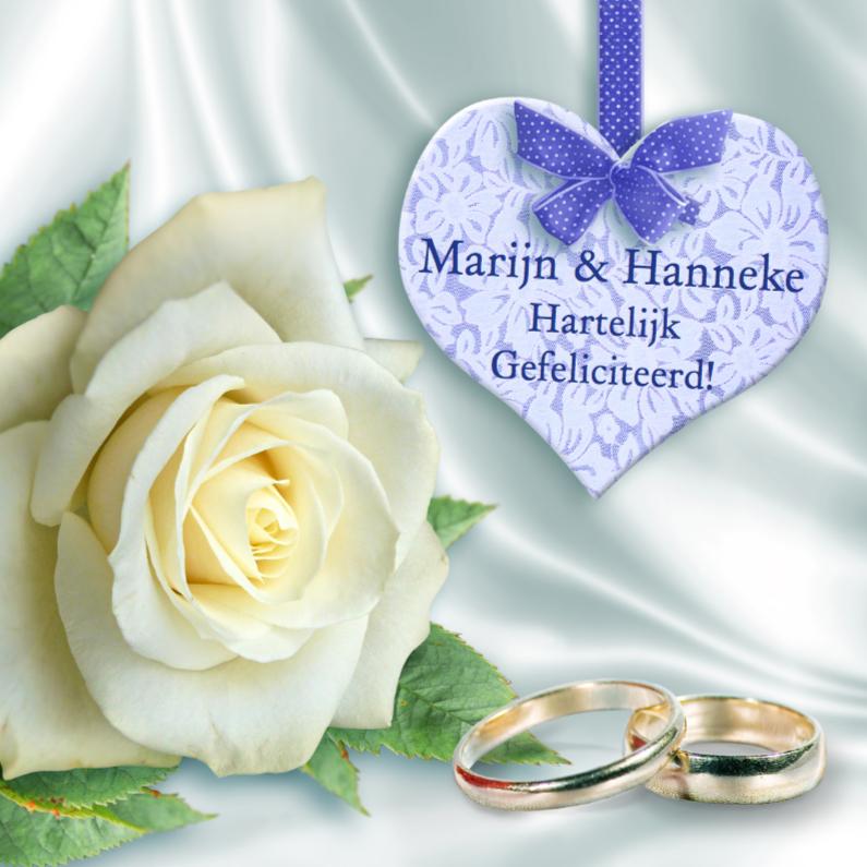 Felicitatiekaarten - Felicitatie met roos, kanten hart en ringen op wit