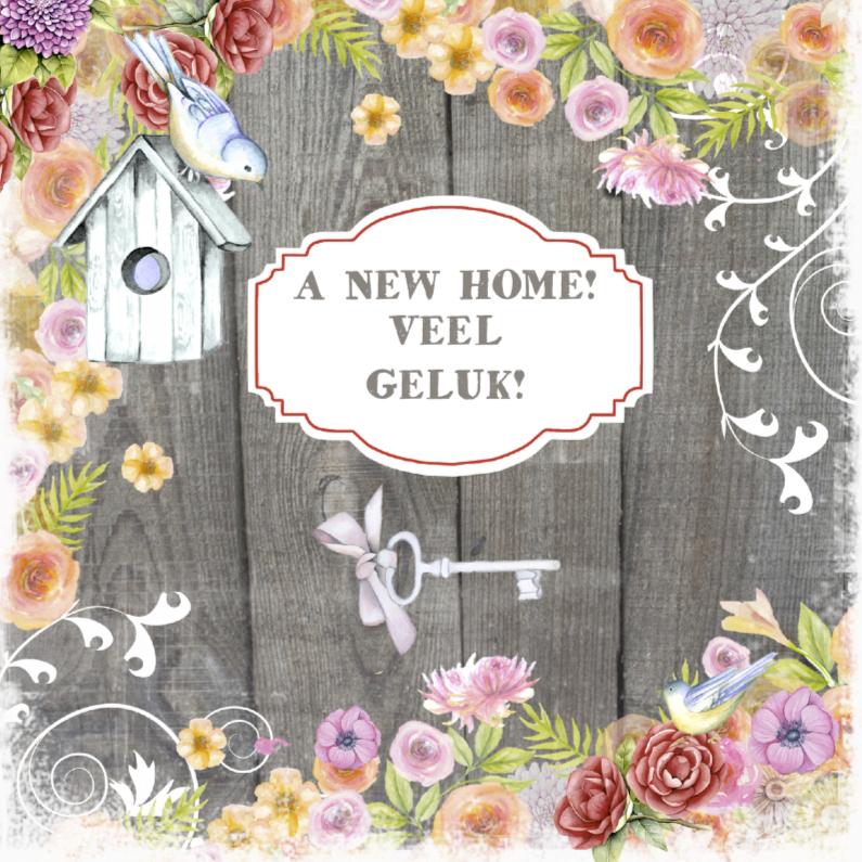 Felicitatiekaarten - felicitatie new home vogelhuisje